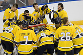 - The University of Notre Dame Fighting Irish defeated the Merrimack College Warriors 4-3 in overtime in their NCAA Northeast Regional Semi-Final on Saturday, March 26, 2011, at Verizon Wireless Arena in Manchester, New Hampshire.