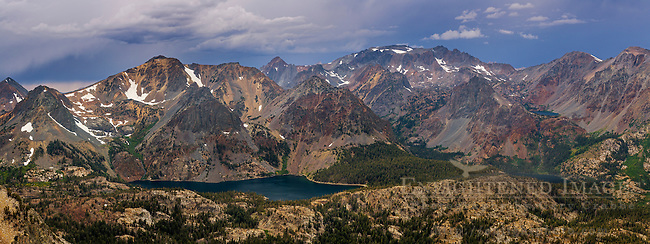 Panorama overlooking the East Lake basin in the Hoover Wilderness, from Kavanaugh Ridge, Humboldt-Toiyabe National Forest, Mono County, Eastern Sierra, California