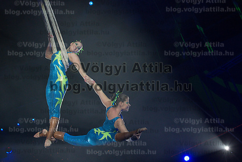 Artists of the Duo Claire of Hungary perform on the net in the new show titled Balance in Circus Budapest in Budapest, Hungary on October 04, 2015. ATTILA VOLGYI