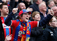 7th March 2020; Selhurst Park, London, England; English Premier League Football, Crystal Palace versus Watford; Crystal Palace fan celebrating after Jordan Ayew of Crystal Palace scored his sides 1st goal in the 28th minute to make it 1-0