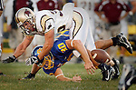 Morgan Taylor #30 of Texas State breaks up a pass intended for Kyle Minett #30 of South Dakota State during the first half of their game Saturday evening at Coughlin- Alumni Stadium in Brookings, S.D.  (Photo by Dick Carlson/Inertia)