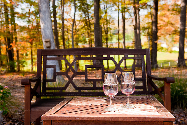 There are numerous pretty, comfortable seats where the visitor can relax with a nice glass or bottle of wine, scattered around the grounds at Keswick Vineyards.