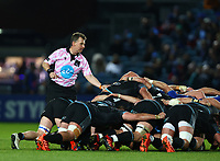 28th February 2020; RDS Arena, Dublin, Leinster, Ireland; Guinness Pro 14 Rugby, Leinster versus Glasgow; Referee Nigel Owens (WRU) keeps a close eye on the scrum