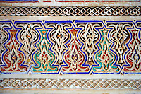 Berber Arabesque decorative moracbe plasterwork of Bou Ahmed's Harem. Bahia Palace, Marrakesh, Morroco