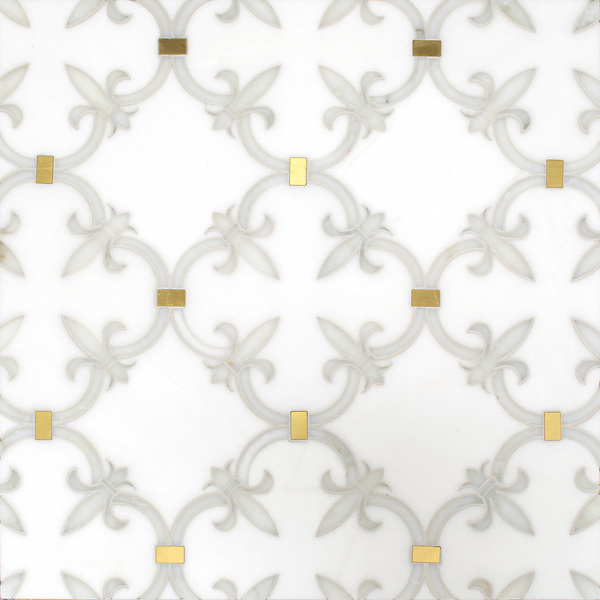 Fleur de Lys, a waterjet stone mosaic, shown in polished Calacatta Gold, Thassos, and Brass, is part of the Jardins Français collection by Caroline Beaupere for New Ravenna.