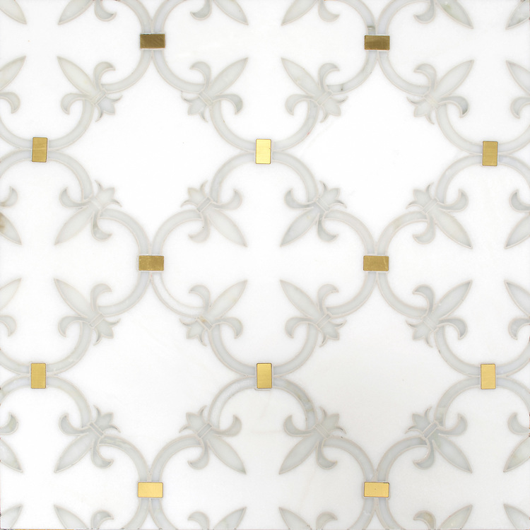 Fleur de Lys, a waterjet stone mosaic, shown in polished Calacatta Gold, Thassos, and Brass, is part of the Jardins Français™ collection by Caroline Beaupere for New Ravenna.