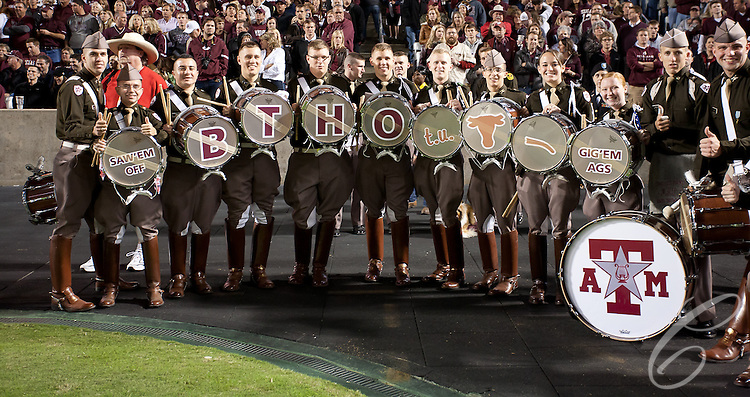 Drummers for the Fightin' Texas Aggie Band makes a statement about the Texas Longhorns from the sidelines of the 2011 Texas A&M - Texas game.