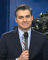 CNN Chief White House Correspondent Jim Acosta speaks live to his viewers prior to White House Principal Deputy Press Secretary Raj Shah conducting the daily briefing in the Brady Press Briefing Room of the White House in Washington, DC on Thursday, February 8, 2018. Photo Credit: Ron Sachs/CNP/AdMedia