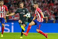 Atletico de Madrid's Koke Resurreccion (r) and Chelsea FC's Cesar Azpilicueta during Champions League 2017/2018, Group C, match 2. September 27,2017. (ALTERPHOTOS/Acero)<br /> Champions League 2017/2018 <br /> Atletico Madrid - Chelsea <br /> Foto Alterphotos / Insidefoto