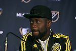 04 December 2015: Columbus forward Kei Kamara (SLE). Major League Soccer held a press conference two days before MLS Cup 2015 between the Portland Timbers FC and Columbus Crew SC. The Press Conference was held at the Greater Columbus Convention Center in Columbus, Ohio.