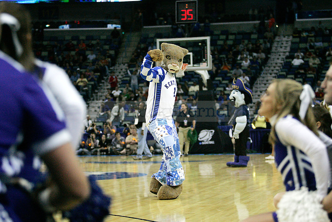 Wildcat does the John Wall dance during the first half of UK's first round 100-71 win over East Tennessee State in the NCAA tournament at New Orleans Arena on Thursday, March 18, 2010. Photo by Britney McIntosh | Staff