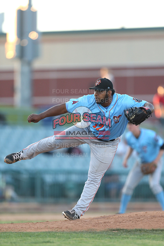 Jario Diaz #17 of the Inland Empire 66ers pitches against the Lancaster JetHawks at The Hanger on May 26, 2014 in Lancaster, California. Lancaster defeated Inland Empire, 6-5. (Larry Goren/Four Seam Images)