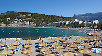 Spain, Mallorca, Port de Soller: view over beach | Spanien, Mallorca, Port de Soller: Strand