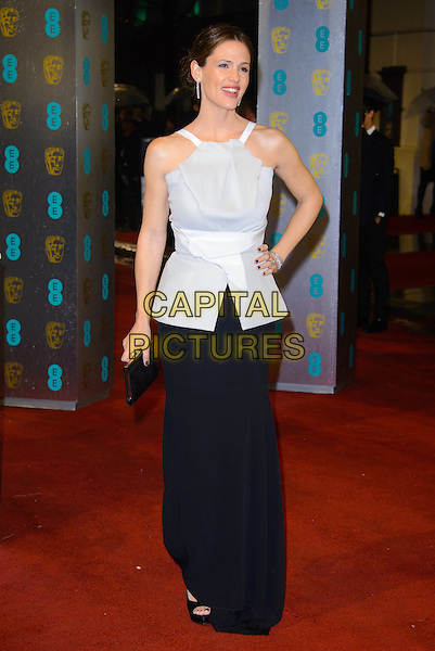 Jennifer Garner.EE British Academy Film Awards at The Royal Opera House, London, England 10th February 2013.BAFTA BAFTAS arrivals full length white grey gray sleeveless top black skirt hand on hip clutch bag.CAP/CJ.©Chris Joseph/Capital Pictures