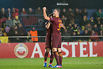 Mohamed Salah of AS Roma celebrates with teammate Edin Dzeko during the match Villarreal CF vs AS Roma, part of the UEFA Europa League 2016-17 Round of 32 at the Estadio de la Cerámica on 16 February 2017 in Villarreal, Spain. Photo by Maria Jose Segovia Carmona / Power Sport Images
