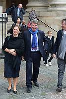 Xavier Darcos et sa femme Laure - Hommage à Gonzague Saint Bris en l'église Saint-Sulpice à Paris, France - 28/9/2017