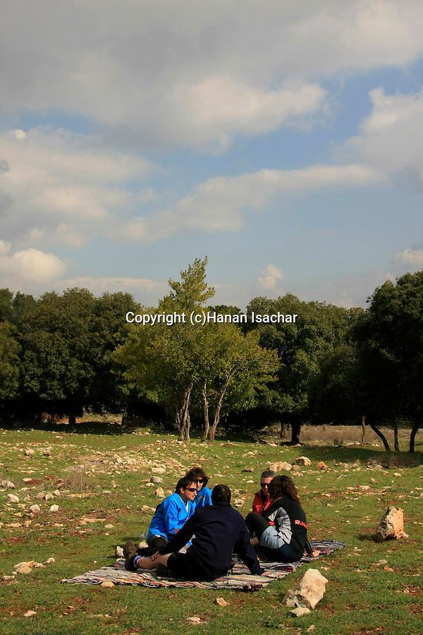 Israel, Mount Carmel, Druze woman baking Pita bread.