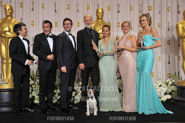 Stars of The Artist - Jean Dujardin, Berenice Bejo, James Cromwell, Penelope Ann Miller, Missi Pyle, directer Michel Hazanavicius & producer Thomas Langmann - at the 82nd Academy Awards at the Hollywood & Highland Theatre, Hollywood..February 26, 2012  Los Angeles, CA.Picture: Paul Smith / Featureflash.