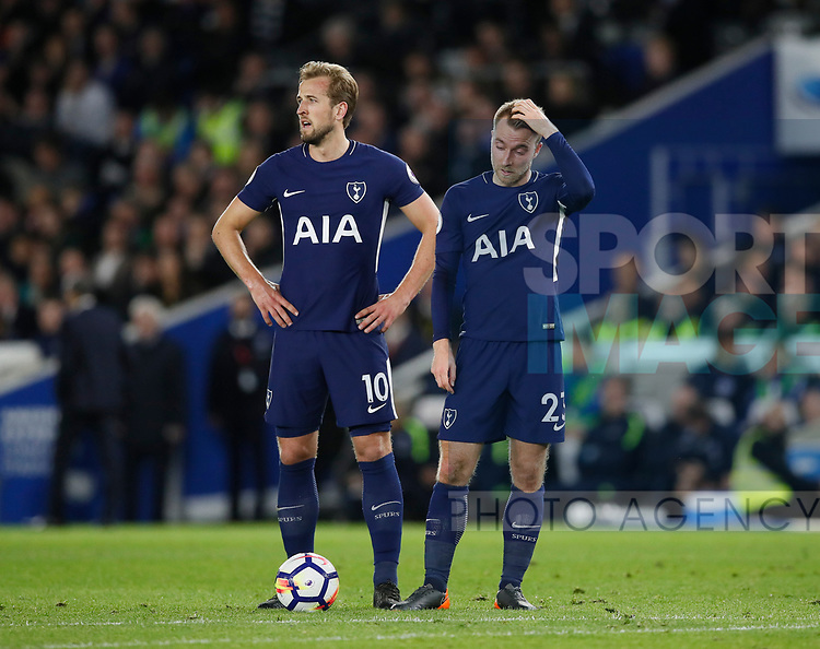 Harry Kane of Tottenham and Christian Eriksen of Tottenham during the premier league match at the Amex Stadium, London. Picture date 17th April 2018. Picture credit should read: David Klein/Sportimage