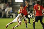 04 June 2008: Clint Dempsey (USA) (8) and Santi Cazorla (ESP) (12) challenge for the ball. The Spain Men's National Team defeated the United States Men's National Team 1-0 at Estadio Municipal El Sardinero in Santander, Spain in an international friendly soccer match.