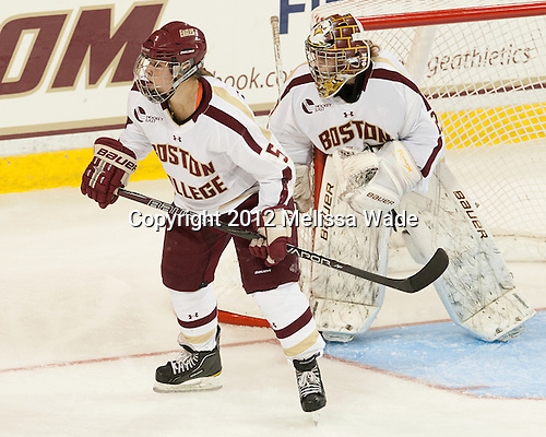 Alex Carpenter (BC - 5), Corinne Boyles (BC - 29) - The visiting Boston University Terriers defeated the Boston College Eagles 4-2 on Friday, October 5, 2012, at Kelley Rink in Conte Forum in Chestnut Hill, Massachusetts.