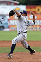 Jamestown Jammers pitcher Luis Chirinos (45) during a game vs. the Batavia Muckdogs at Dwyer Stadium in Batavia, New York July 17, 2010.   Batavia defeated Jamestown 6-1.  Photo By Mike Janes/Four Seam Images