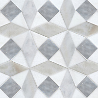 Esmeralda Grand, a stone waterjet cut mosaic, shown in venetianed honed Allure, Snow White, and Cashmere.