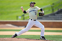 Wake Forest Demon Deacons starting pitcher Connor Johnstone (3) in action against the Pittsburgh Panthers at David F. Couch Ballpark on May 20, 2017 in Winston-Salem, North Carolina. The Demon Deacons defeated the Panthers 14-4.  (Brian Westerholt/Four Seam Images)