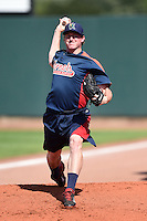Cedar Rapids Kernels pitcher Ryan Eades (37) throws a bullpen session before a game against the Quad Cities River Bandits on August 19, 2014 at Perfect Game Field at Veterans Memorial Stadium in Cedar Rapids, Iowa.  Cedar Rapids defeated Quad Cities 5-3.  (Mike Janes/Four Seam Images)