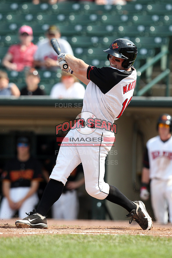Rochester Red Wings outfielder Dustin Martin #16 at bat during a game against the Norfolk Tides at Frontier Field on June 5, 2011 in Rochester, New York.  Norfolk defeated Rochester 11-5 in eleven innings.  Photo By Mike Janes/Four Seam Images