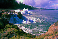 Haida Gwaii (Queen Charlotte Islands), Northern BC, British Columbia, Canada - Waves crashing on Rocky Shoreline on North Beach along McIntyre Bay, Naikoon Provincial Park, Graham Island