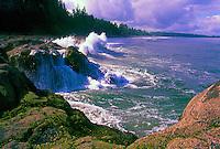 Haida Gwaii (Queen Charlotte Islands), Northern BC, British Columbia, Canada - Waves crashing on Rocky Shoreline on North Beach along McIntyre Bay, Naikoon Provincial Park, Graham Island