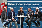 05.01.2018, Estrel Congress Center, Berlin, GER,  Internationaler DTB Tenniskongress 2019 <br /> <br /> im Bild v.l. Mattias Stach moderiert die Talkrunde / Der Weg zur Weltklasse / mit Boris Becker, Barbara Rittner, Dirk Hordorff, Kiaus Eberhard<br /> <br /> Foto &copy; nordphoto/Mauelshagen
