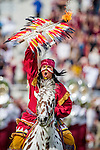 Florida State mascot Osceola atop Renegade take the field prior to Florida State defeating N.C. State 34-17 for homecoming of their NCAA football game in Tallahassee, FL November 14, 2015.