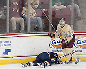 Steven Santini (BC - 6), Austin Wuthrich (ND - 27) - The visiting University of Notre Dame Fighting Irish defeated the Boston College Eagles 2-1 in overtime on Saturday, March 1, 2014, at Kelley Rink in Conte Forum in Chestnut Hill, Massachusetts.