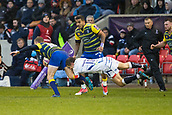 9th December 2017, AJ Bell Stadium, Salford, England; European Rugby Challenge Cup, Sale Sharks versus Cardiff Blues; Sale Sharks' AJ MacGinty tackles Cardiff Blues' Damien Welch