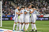 Celebrations as Harry Kane (Tottenham Hotspur) of England equalises at 2 2 during the International Friendly match between France and England at Stade de France, Paris, France on 13 June 2017. Photo by David Horn/PRiME Media Images.
