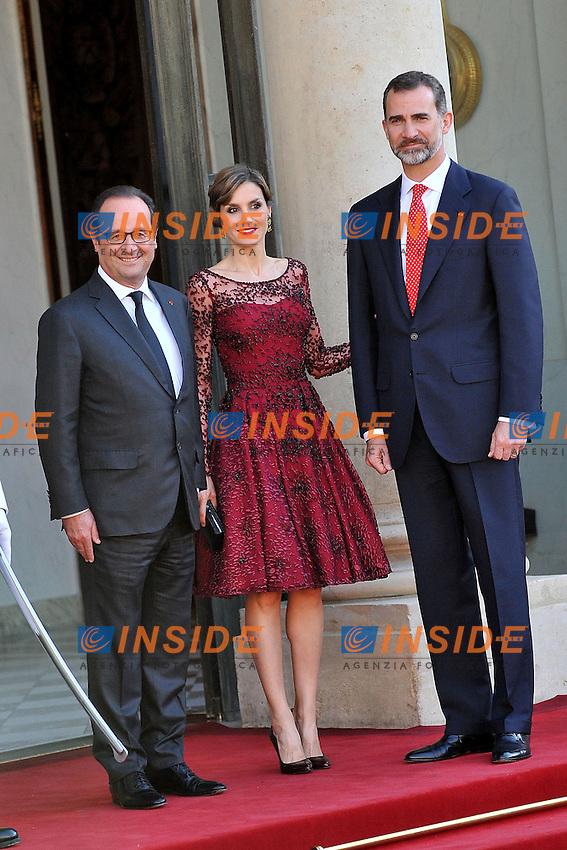 Francoise Hollande, Re Filippo VI di Spagna e la Regina Letizia <br /> Parigi, Eliseo 02-06-2015 Vertice Franco Spagnolo<br /> Foto Panoramic / Insidefoto
