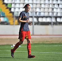 20131026 - LIVADIA , GREECE : Belgian Lore Vanschoenwinkel pictured during the female soccer match between Greece and Belgium , on the third matchday in group 5 of the UEFA qualifying round to the FIFA Women World Cup in Canada 2015 at the Levadia Municipal Stadium , Livadia . Saturday 26th October 2013. PHOTO DAVID CATRY