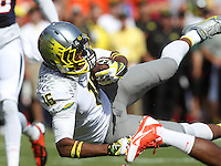 Oregon wide receiver Daryle Hawkins (16) Oregon defeated Virginia 59-10 Saturday at Scott Stadium in Charlottesville, VA. Photo/Andrew Shurtleff