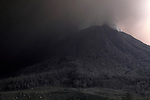 Sinabung Volcano shrouded in ash, Sumatra, Indonesia