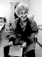 October 1995 File Photo of :<br /> American actress Olympia Dukakis rehearse her text, during a movie shoot in Montreal, Canada, October 28, 1995<br /> <br /> After  beeing a stage actress for more than 30 years  she made her feature-film debut in Moonstruck<br /> directed by  Rose Castorini, it earned her an Academy Award for Best Supporting Actress.<br /> <br /> (Photo byJohn Raudsepp - Images Distribution)<br /> ON SPEC<br /> NOTE : scan from B&W print, scans negs available on request