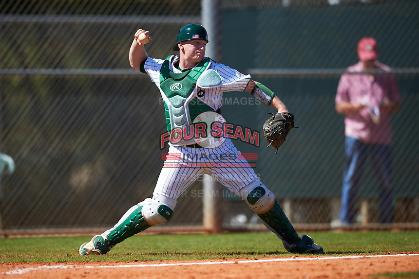 Eastern Michigan Eagles catcher Jeremy Stidham (50) throws down to second base during a game against the Dartmouth Big Green on February 25, 2017 at North Charlotte Regional Park in Port Charlotte, Florida.  Dartmouth defeated Eastern Michigan 8-4.  (Mike Janes/Four Seam Images)