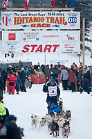 Bruce Linton team leaves the start line during the restart day of Iditarod 2009 in Willow, Alaska