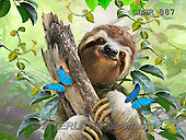 Howard, REALISTIC ANIMALS, REALISTISCHE TIERE, ANIMALES REALISTICOS, paintings,+sloth,djungle,++++,GBHR887,#A#sloth,jungle ,puzzles