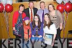 DISTINCTION: Siobhan Ní Ghrifin with her family after she was one of the receipents of the Lee Strand/Kerry Garda Youth Distinction Award 2013 at Ballyroe Heights Hotel, Tralee on Friday night, Front l-r: Muirtiosa,Siobhán agus Niamh Ni Ghrifin. Back l-r: Nuala Uí Ghearailt, Maitiú Ghrifin, Padraig Feirteir (principal Pobal Scoil, Chorca-Dhuibhne) agus Marie Uí Ghrifin.
