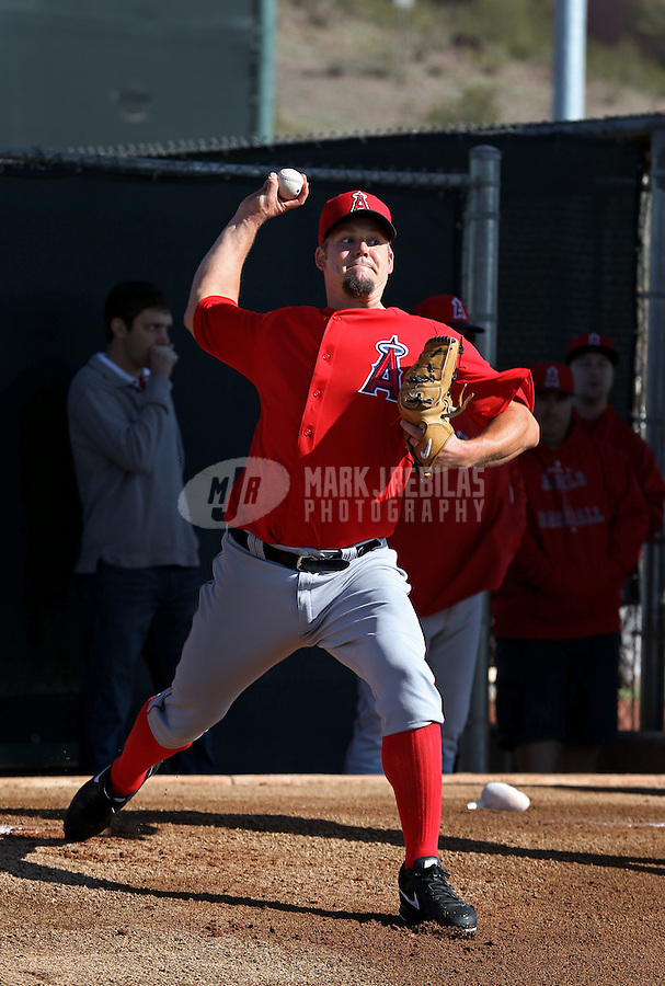 Feb. 12, 2013; Tempe, AZ, USA: Los Angeles Angels pitcher Joe Blanton throws during spring training at Tempe Diablo Stadium. Mandatory Credit: Mark J. Rebilas-USA TODAY Sports