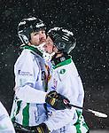 Uppsala 2014-01-12 Bandy  IK Sirius - GAIS Bandy :  <br /> GAIS Eric Claesson gratuleras av GAIS Tobias Eriksson efter ett av sina m&aring;l i matchen <br /> (Foto: Kenta J&ouml;nsson) Nyckelord:  jubel gl&auml;dje lycka glad happy