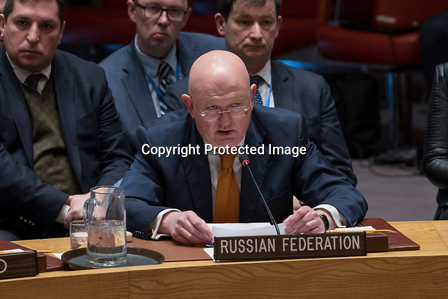 Security Council Considers Letter from United Kingdom<br /> Vassily Nebenzia, Permanent Representative of the Russian Federation to the UN, addresses the Security Council meeting considering the letter dated 13 March 2018 from the Permanent Mission of the United Kingdom of Great Britain and Northern Ireland to the United Nations.