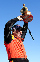 Sept. 6, 2010; Clermont, IN, USA; NHRA comp eliminator driver Al Ackerman celebrates after winning the U.S. Nationals at O'Reilly Raceway Park at Indianapolis. Mandatory Credit: Mark J. Rebilas-